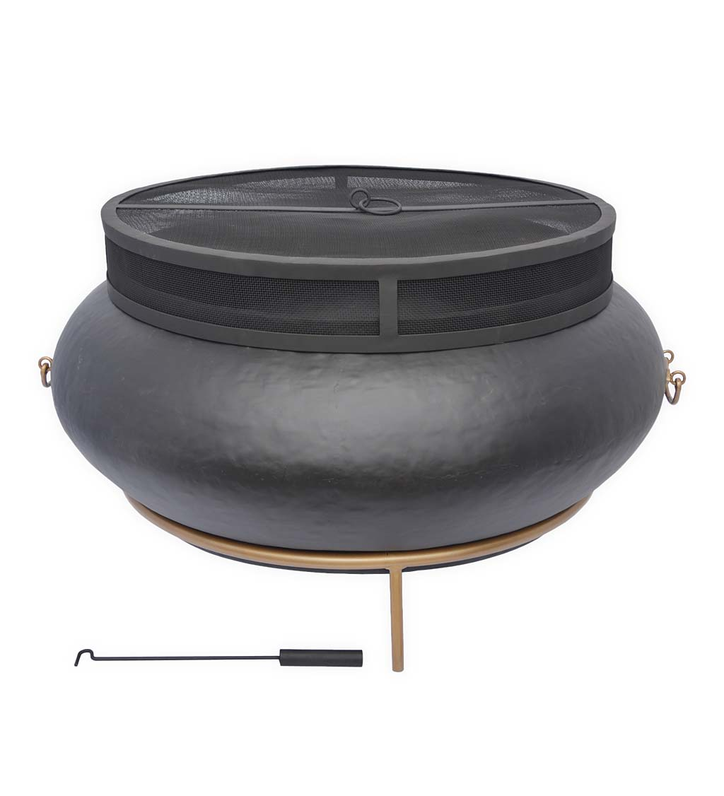 Cast Iron Fire Pit with Fitted Mesh Spark Guard and Stand