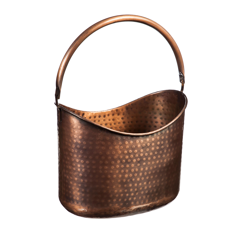 Antique Hammered Copper Storage Basket