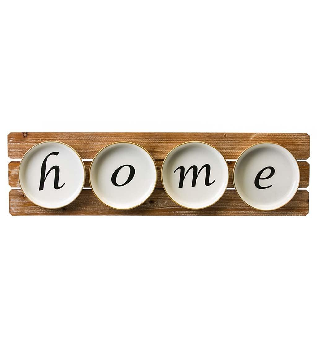 """""Home"" Plates on Wood Wall Décor"""