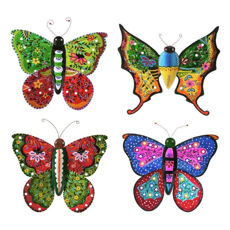 Handpainted Boho Metal Butterflies, Set of 4