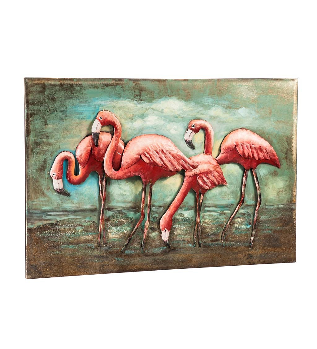 Handcrafted Flamingo 3D Metal Wall Décor