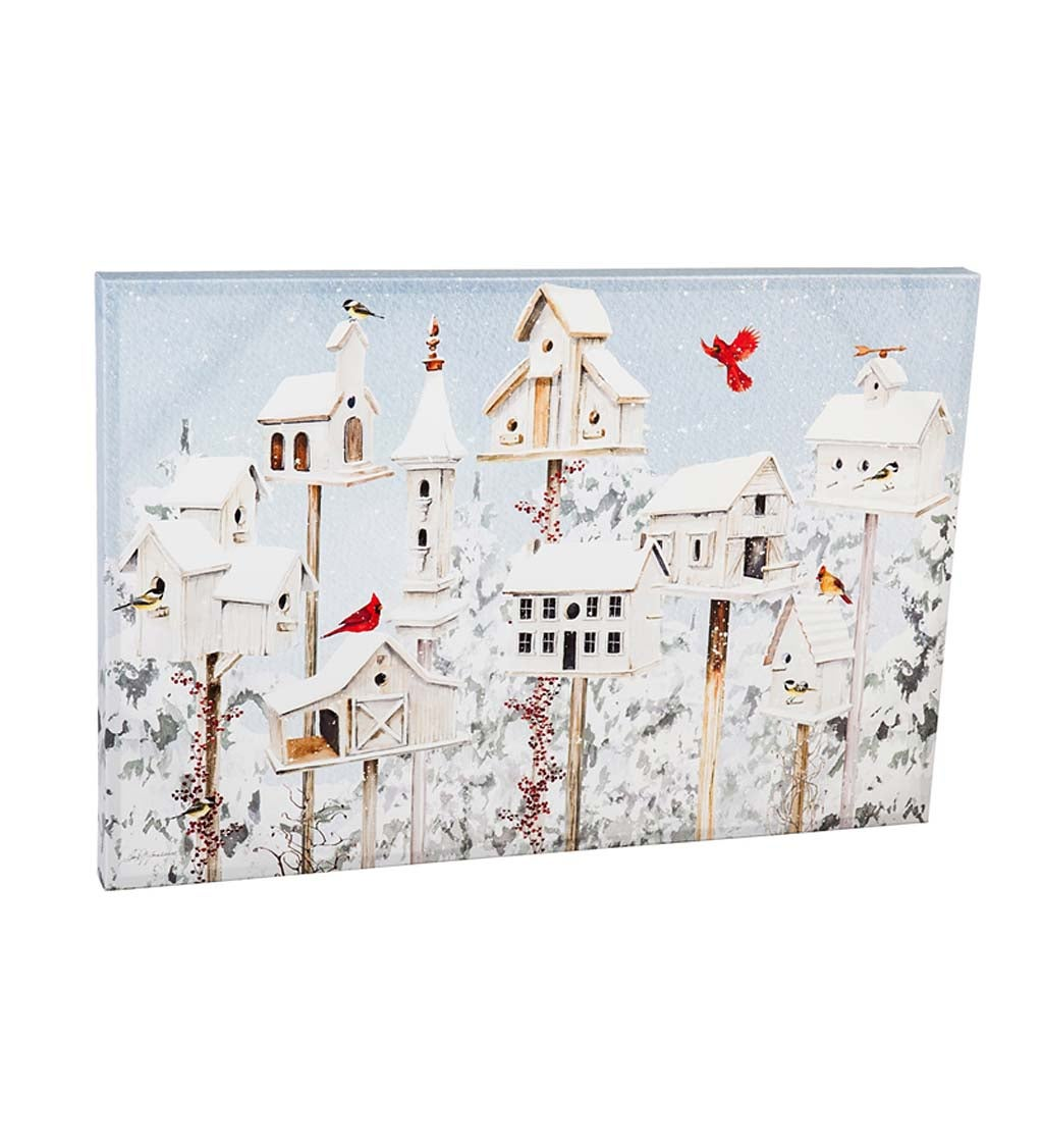 White Holiday Birdhouses Wall Canvas Artwork