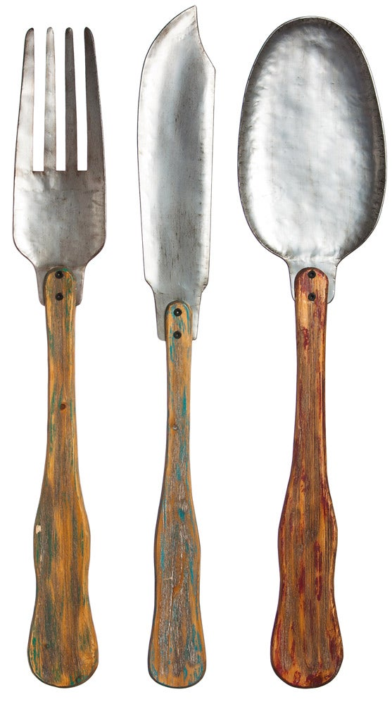 Vintage Metal and Wood Knife, Fork, and Spoon Wall Decor Set of 3