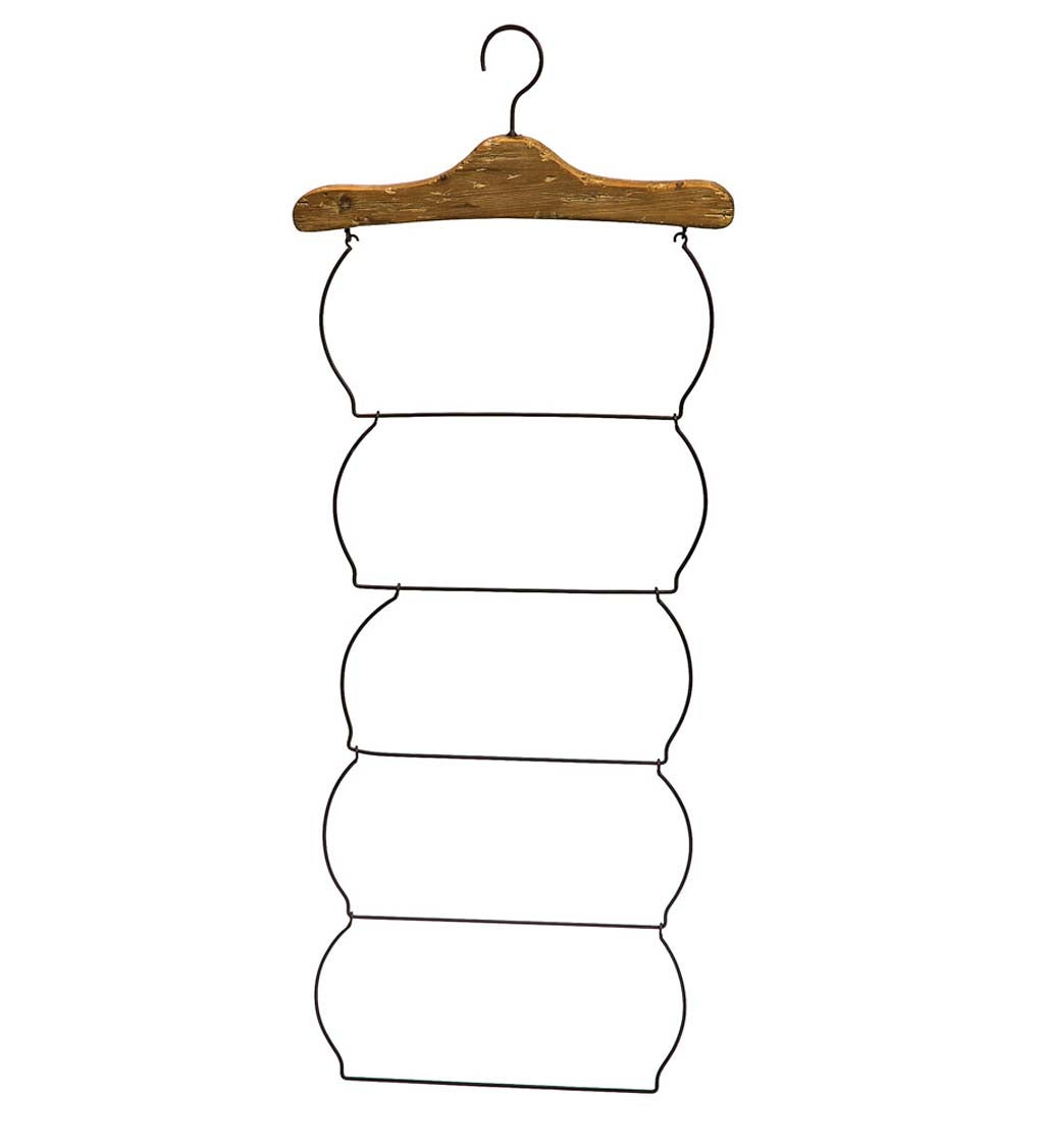 Rustic Farmhouse Chic Wood and Metal Hanging Rack