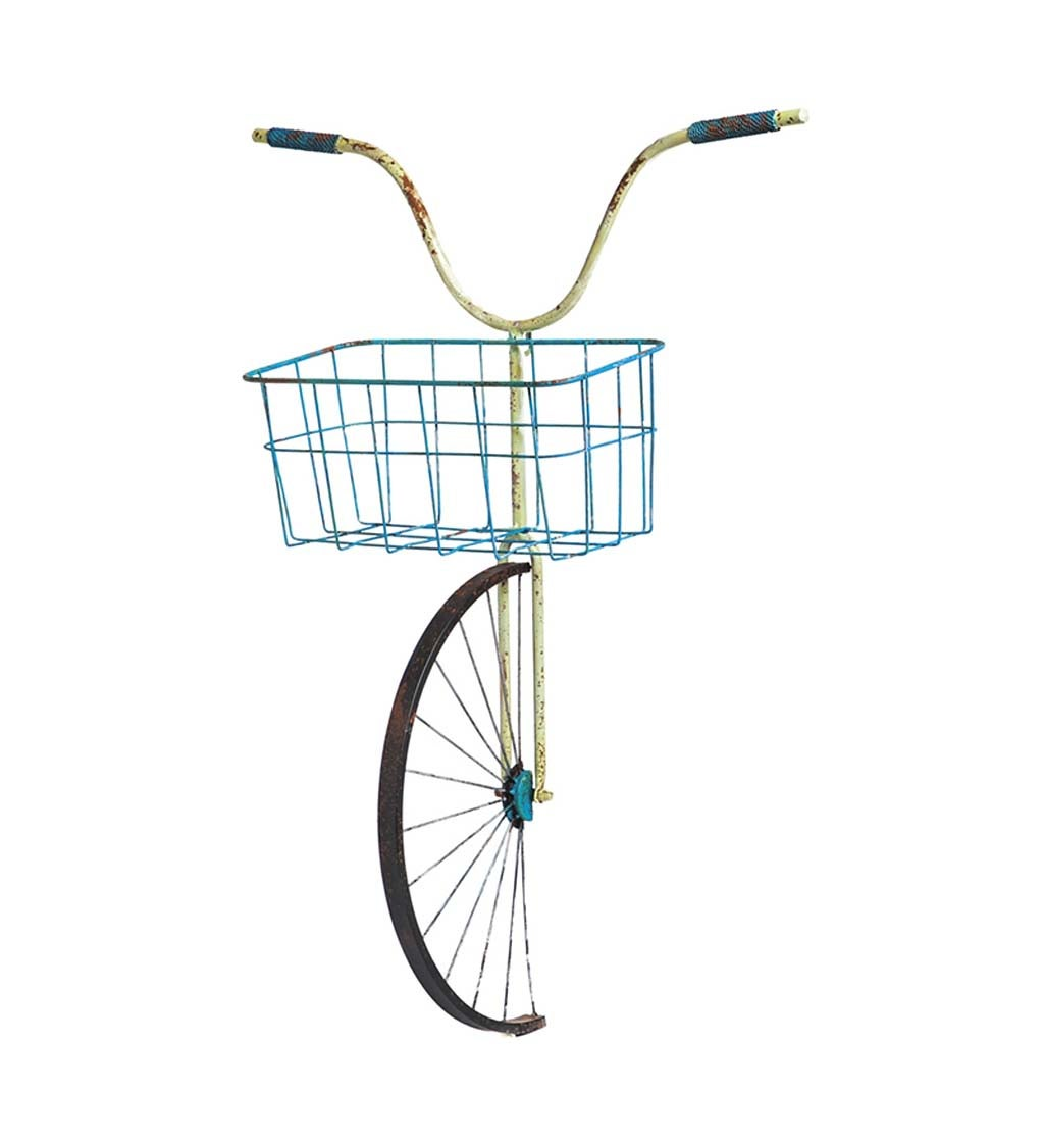 Front Basket Metal Bicycle Wall Décor and Planter
