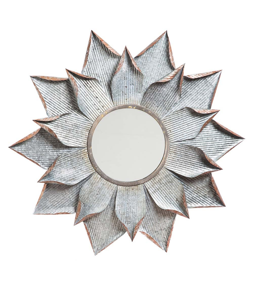 Galvanized Metal Flower Wall Mirror