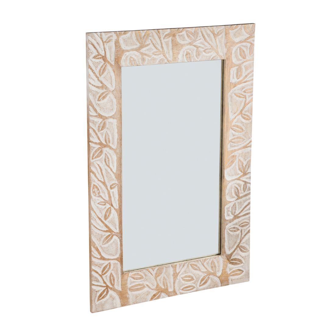 Hand-Carved Mango Wood Wall Mirror