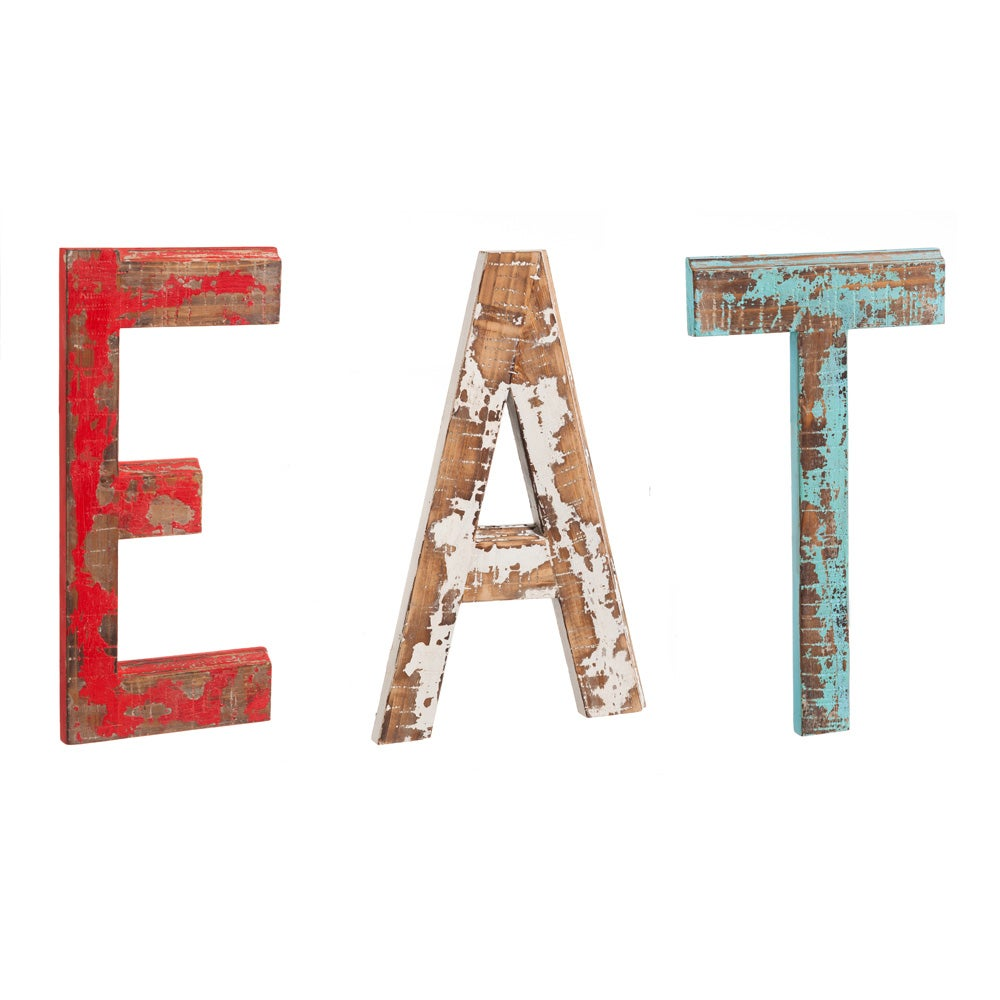 Distressed EAT Wooden Wall Decor