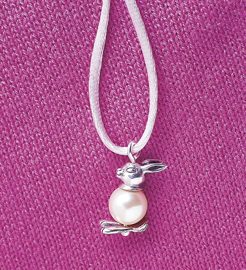 Whimsical Pearly Bunny and Sterling Silver Necklace with Cord