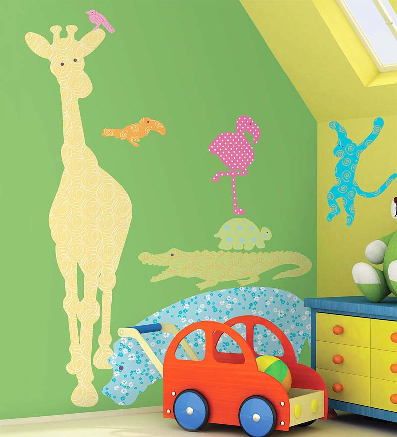 Set of 24 Colorful Jungle Animal Decorative Silhouette Wall Stickers