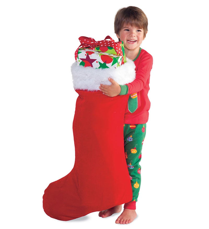 Super-Sized Red Velveteen Stocking with White Fur Cuff