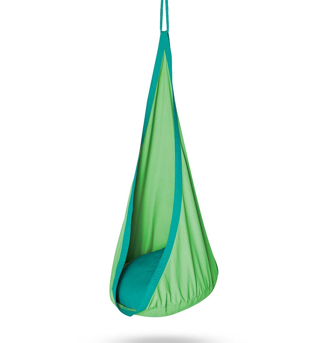 HugglePod Indoor / Outdoor Canvas Hanging Chair for Kids, in Green