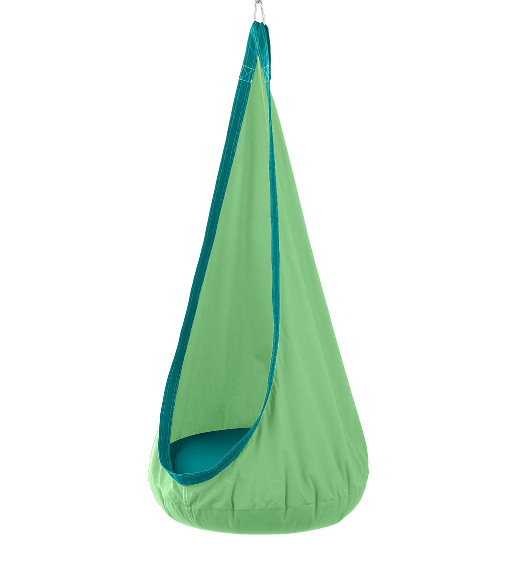 HugglePod Deluxe: Indoor/Outdoor Canvas Hanging Chair for Kids, Green