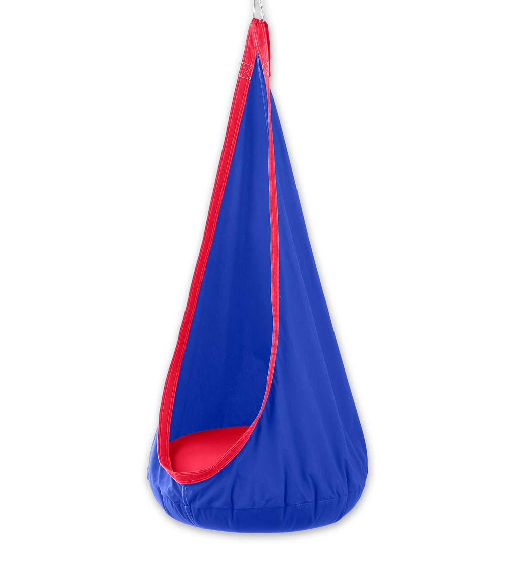 HugglePod Deluxe: Indoor/Outdoor Canvas Hanging Chair for Kids, Blue