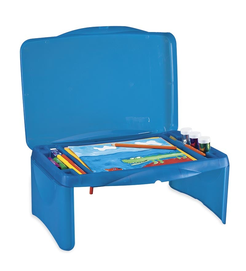 Kids Folding & Portable Lap Desk with Storage, in Blue