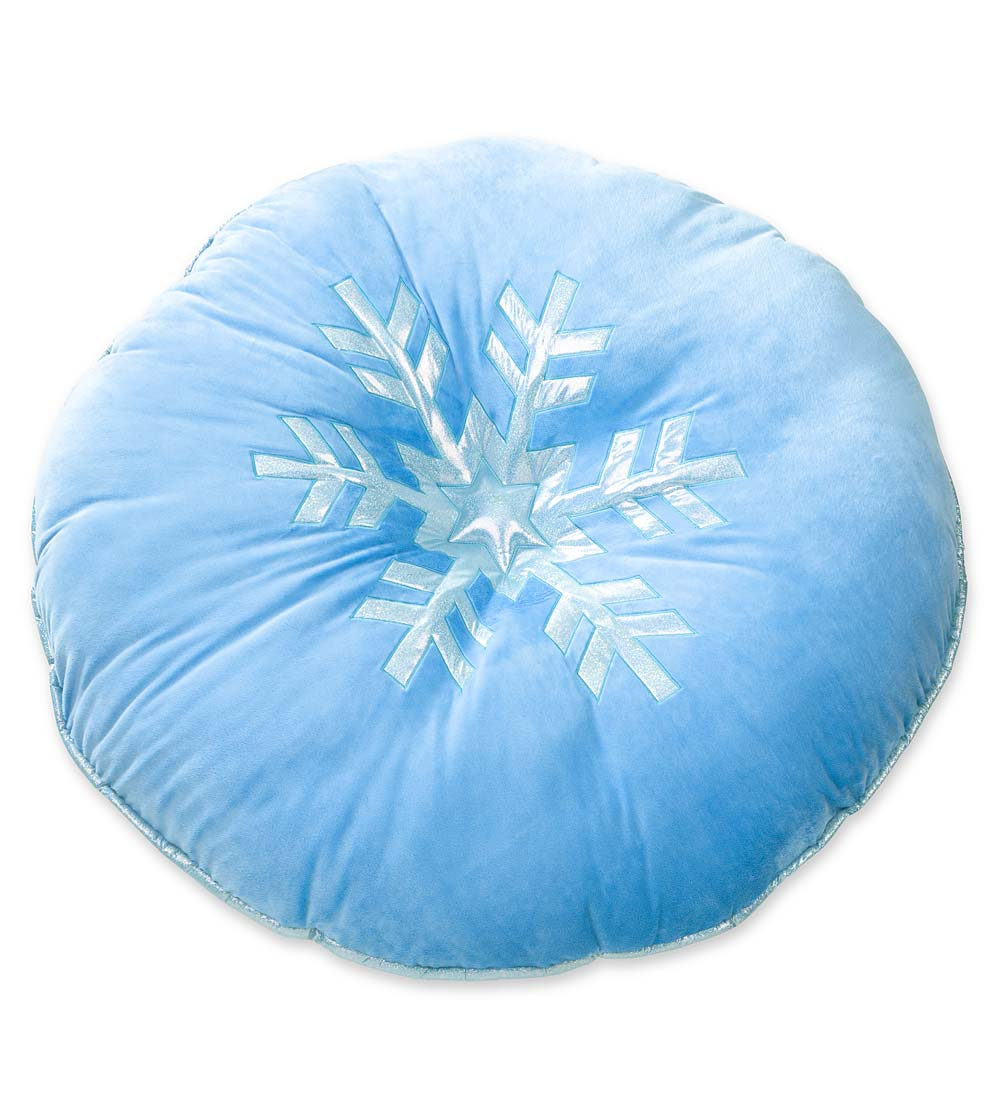 silvery snowflake floor pillow