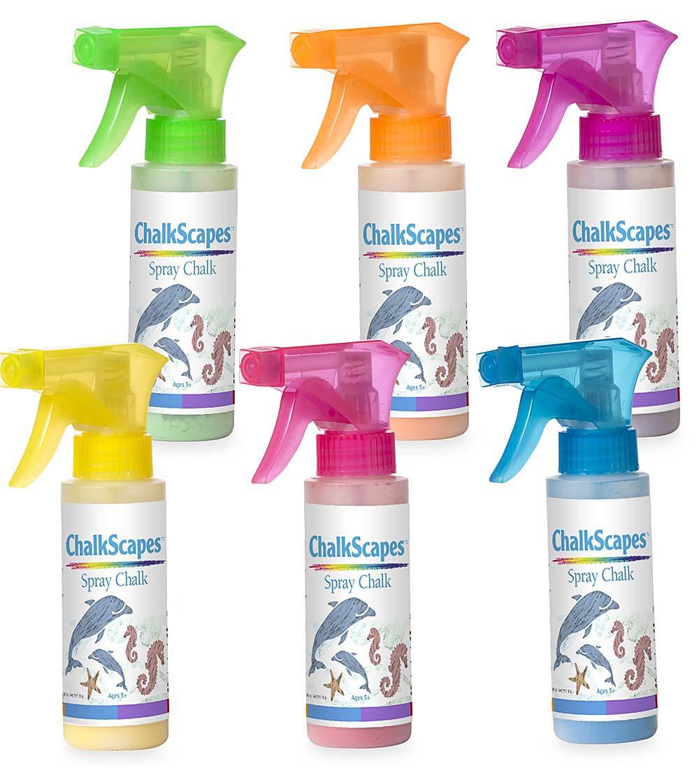 set of 6 liquid spray chalks in spray bottles for kids chalk play