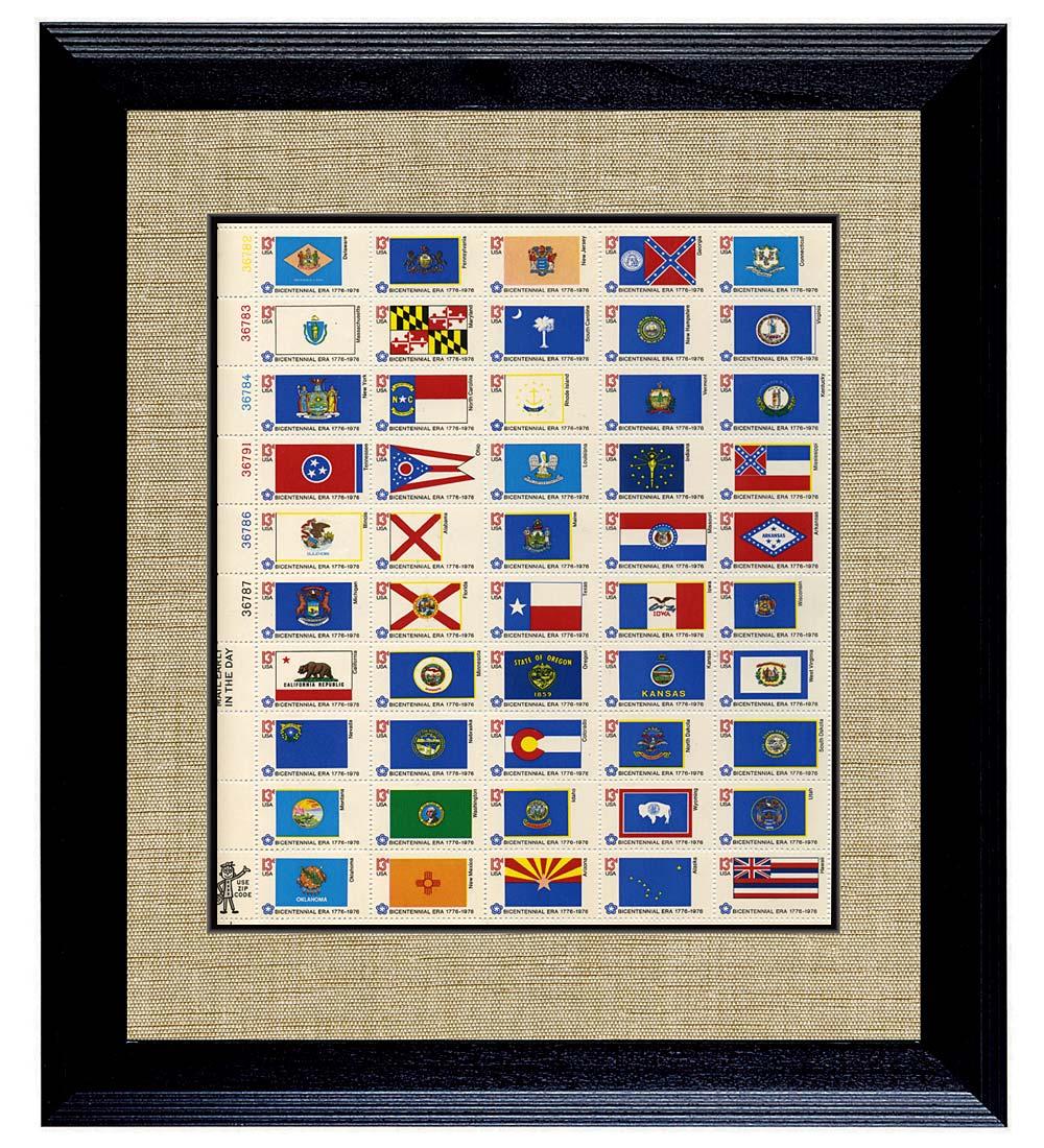 framed u.s. state flag stamp sheet