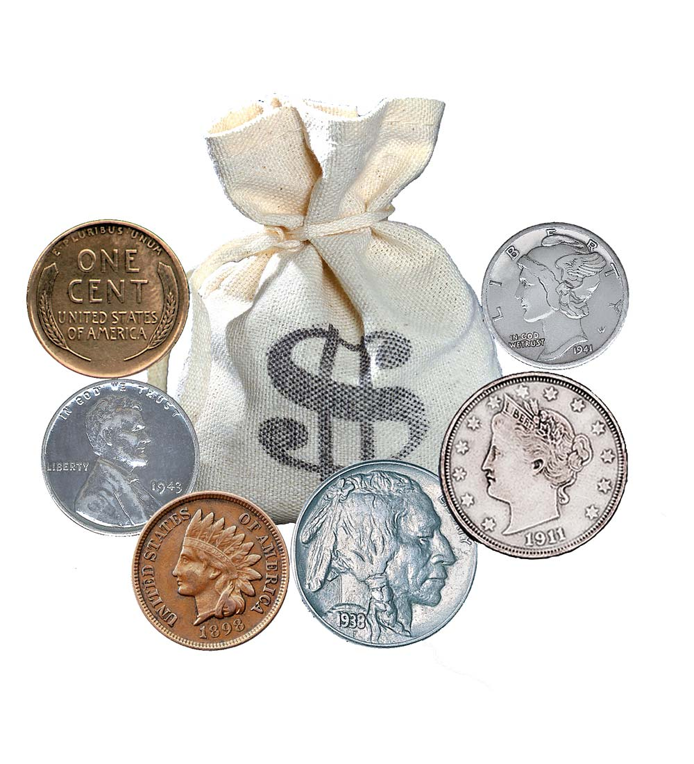 bankers bag of old rare coins-60 coins