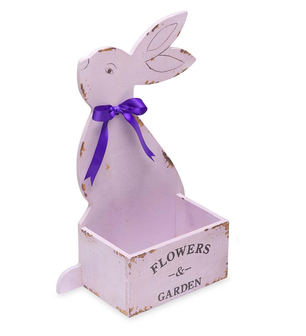 wooden bunny planter