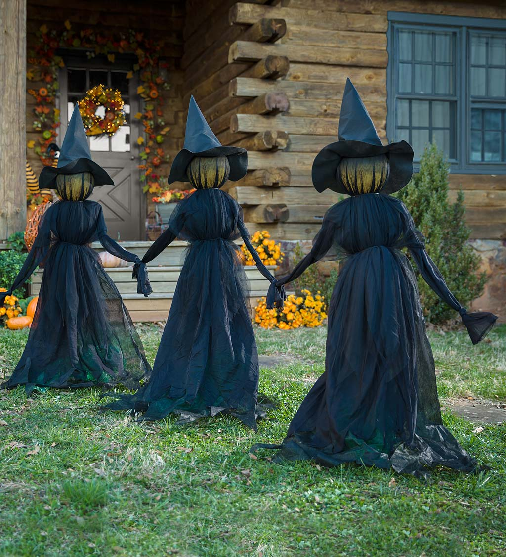visiting light-up witches with stakes (set of 3)
