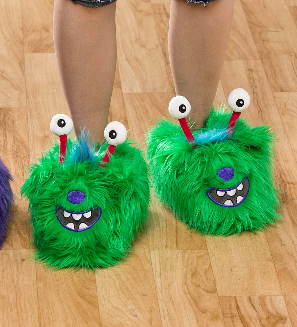 Green Monster Slippers for Kids, Size Large (Child's 3-5)