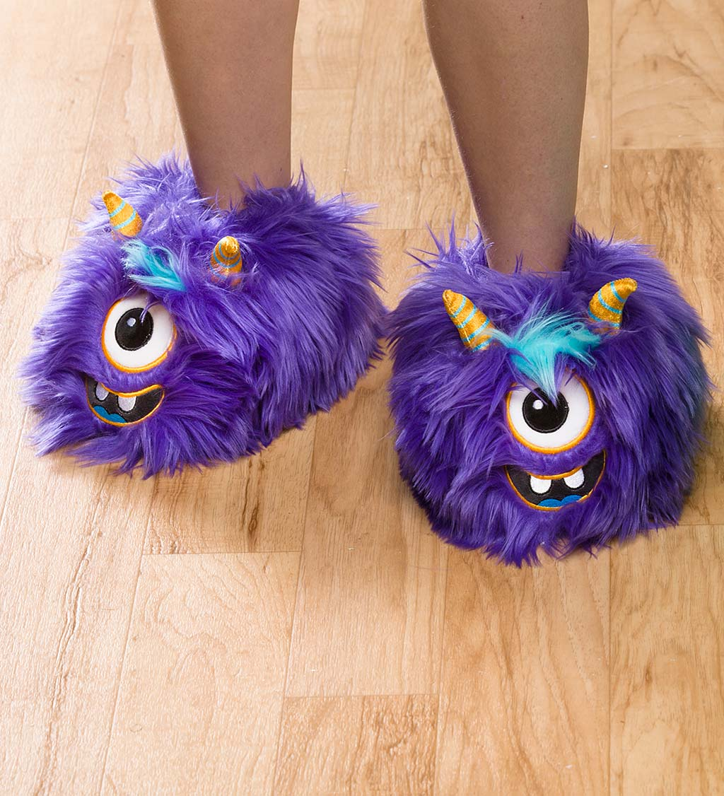 Kids Purple Monster Slippers, Size Large (Child's 3-5)