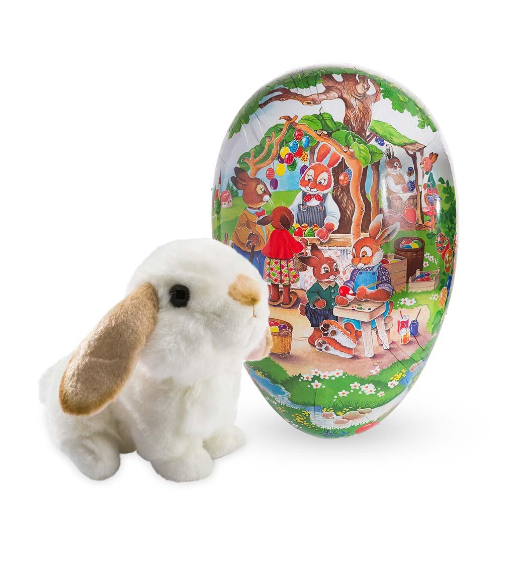 "giant vintage papier-mâché easter egg with 8""l lop-eared bunny"