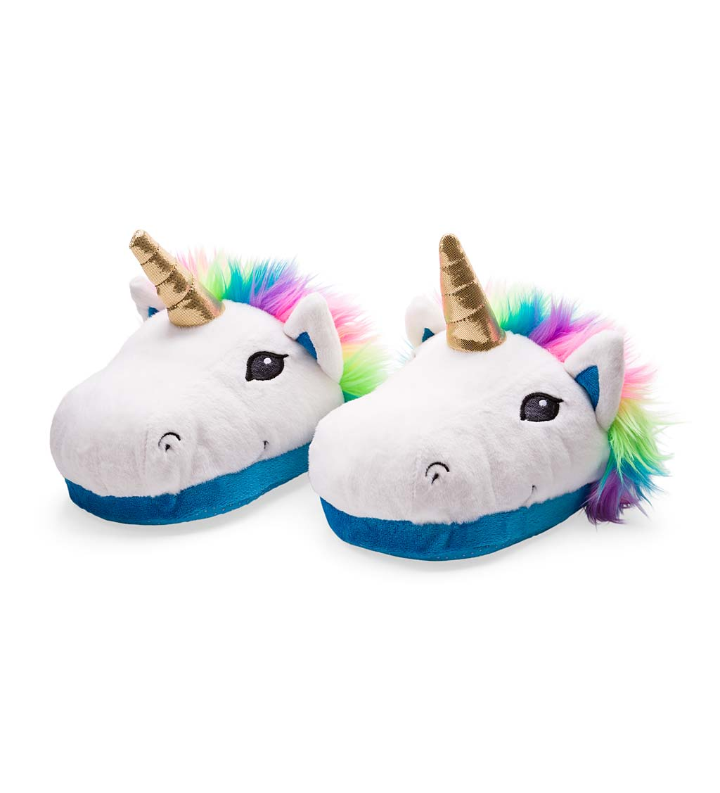 Bright Plush Unicorn Slippers