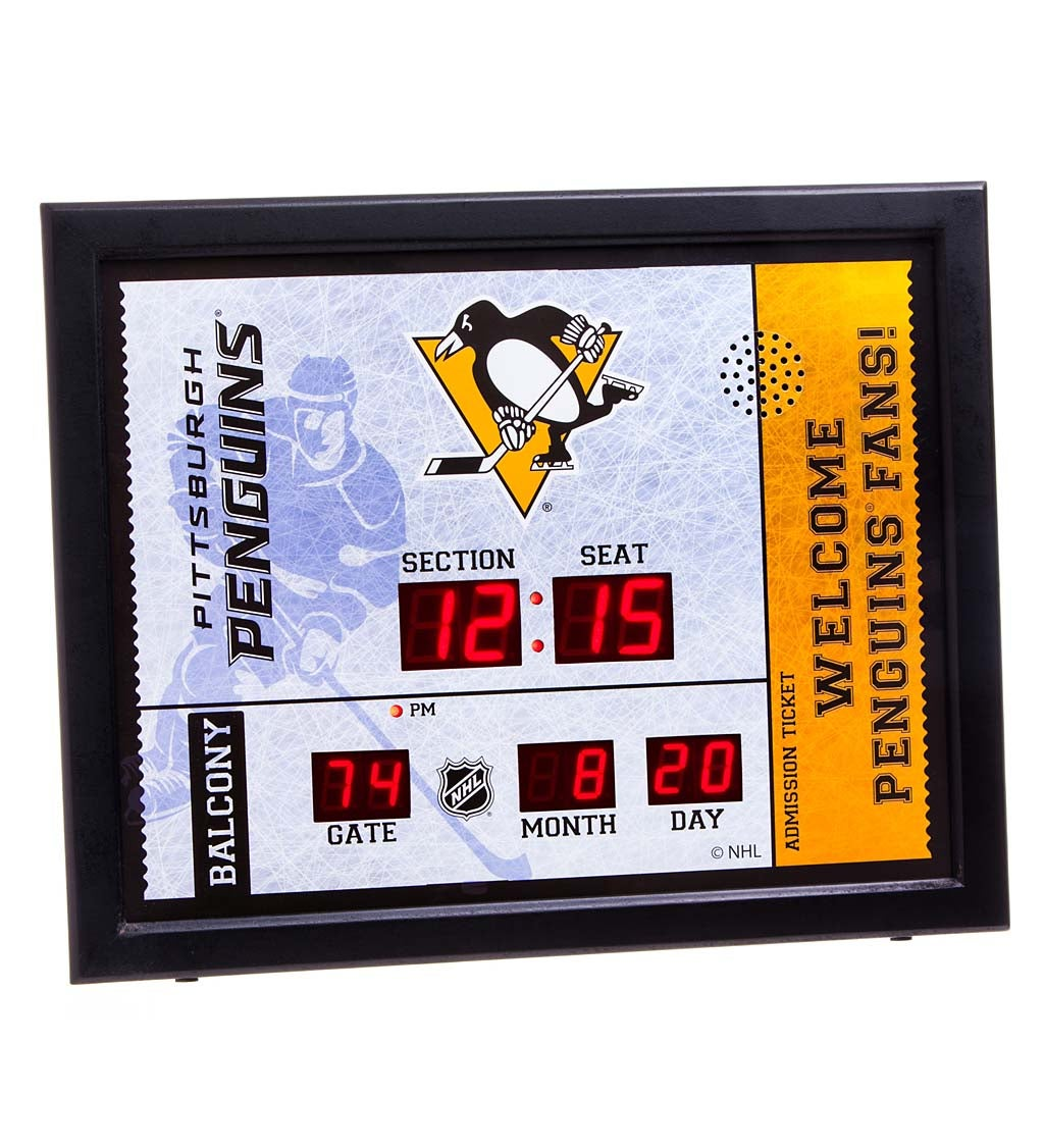 Pittsburgh Penguins Bluetooth Scoreboard Wall Clock