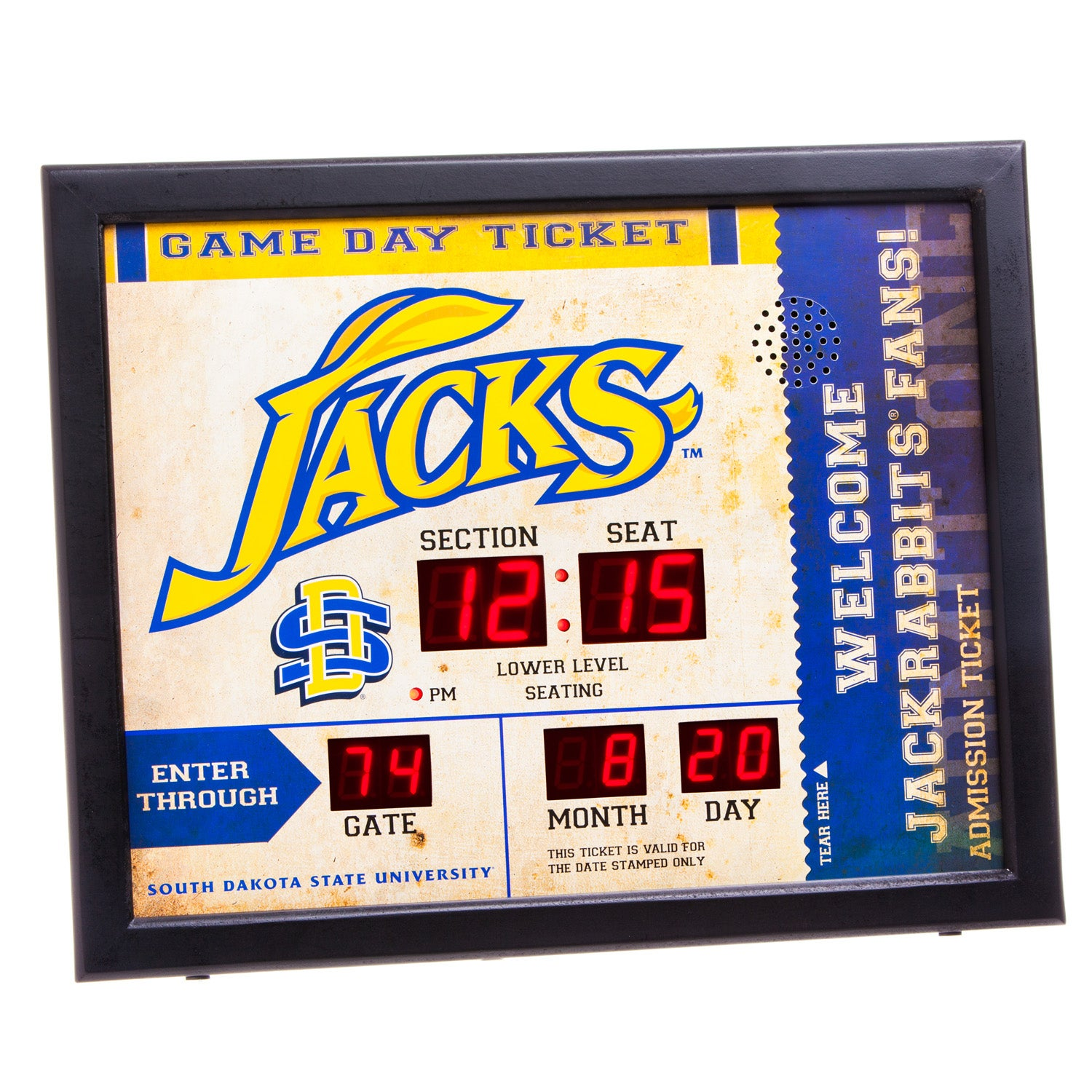 South Dakota State Jackrabbits Bluetooth Scoreboard Wall Clock