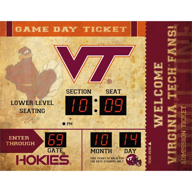 Virginia Tech Bluetooth Ticket Stub Wall Clock