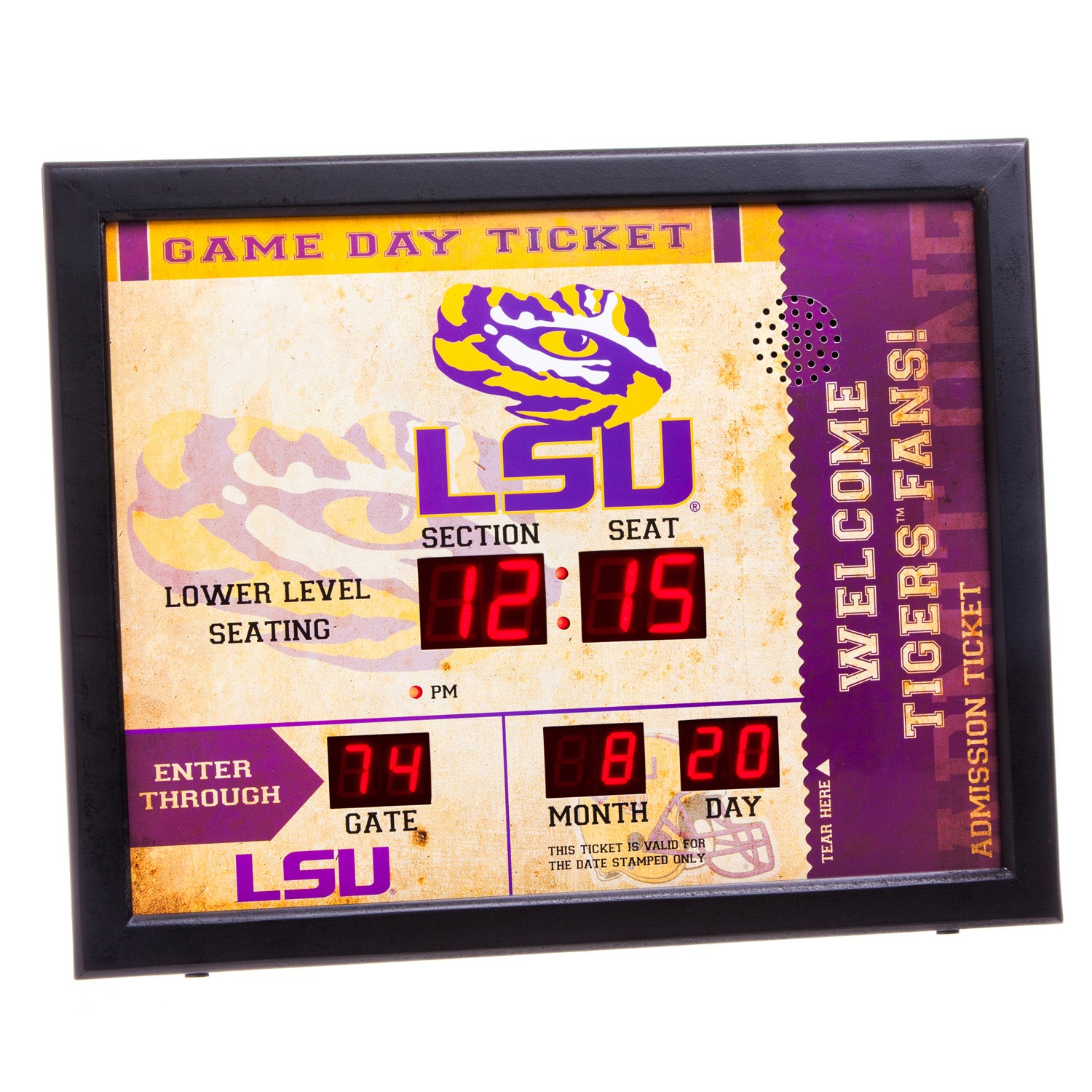 LSU Tigers Bluetooth Scoreboard Wall Clock