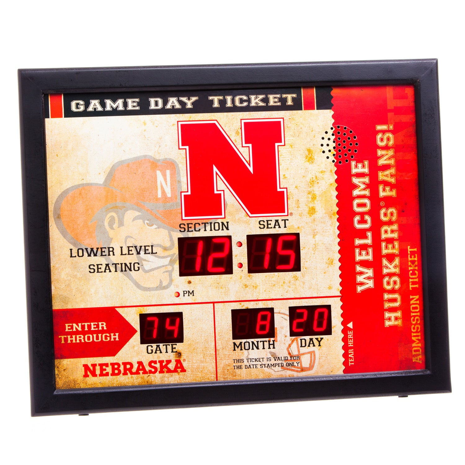 Nebraska Huskers Bluetooth Scoreboard Wall Clock