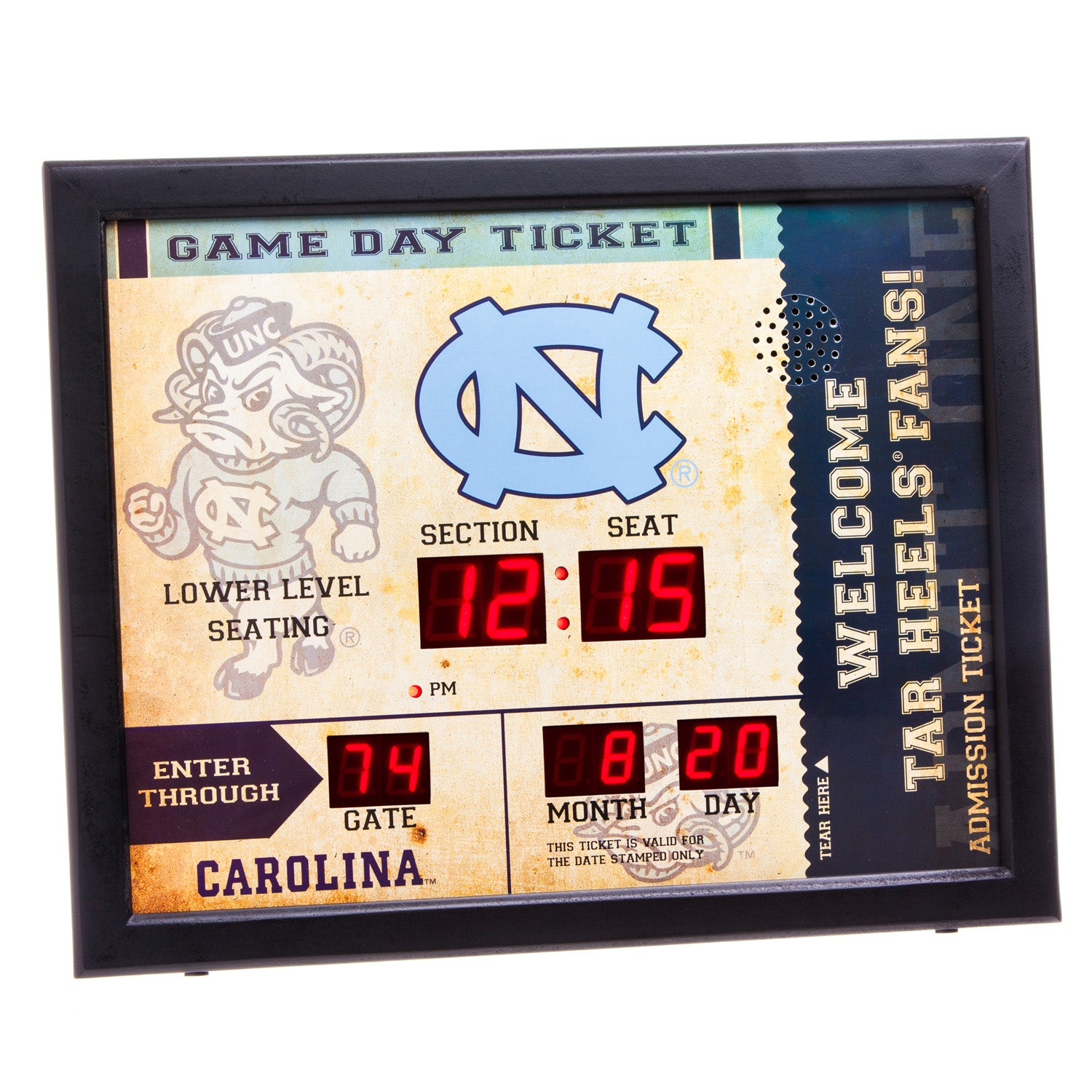 North Carolina Tarheels Bluetooth Scoreboard Wall Clock