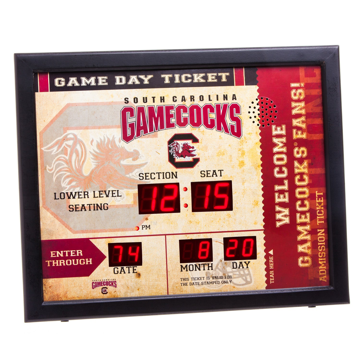 South Carolina Gamecocks Bluetooth Scoreboard Wall Clock