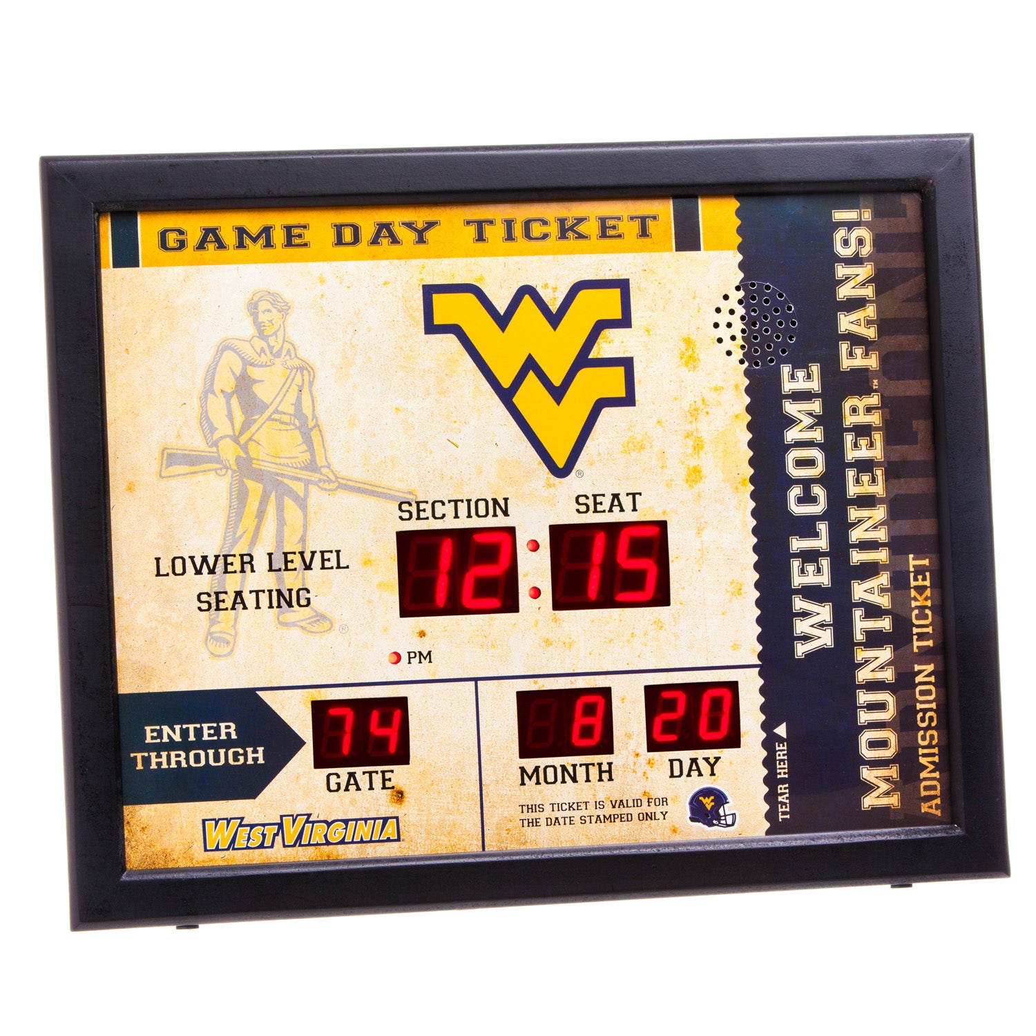 West Virginia Mountaineer Bluetooth Scoreboard Wall Clock