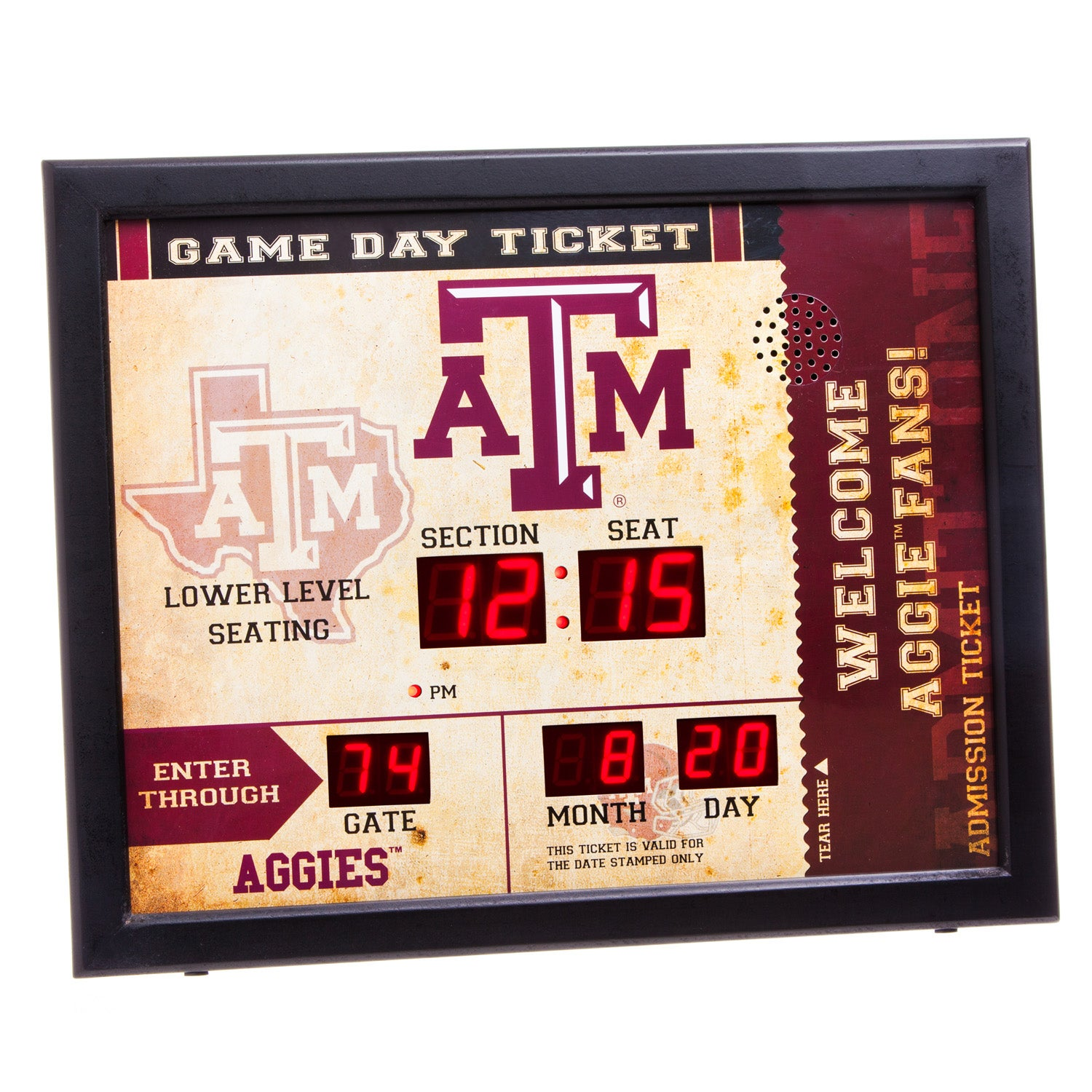 Texas A & M Aggies Bluetooth Scoreboard Wall Clock