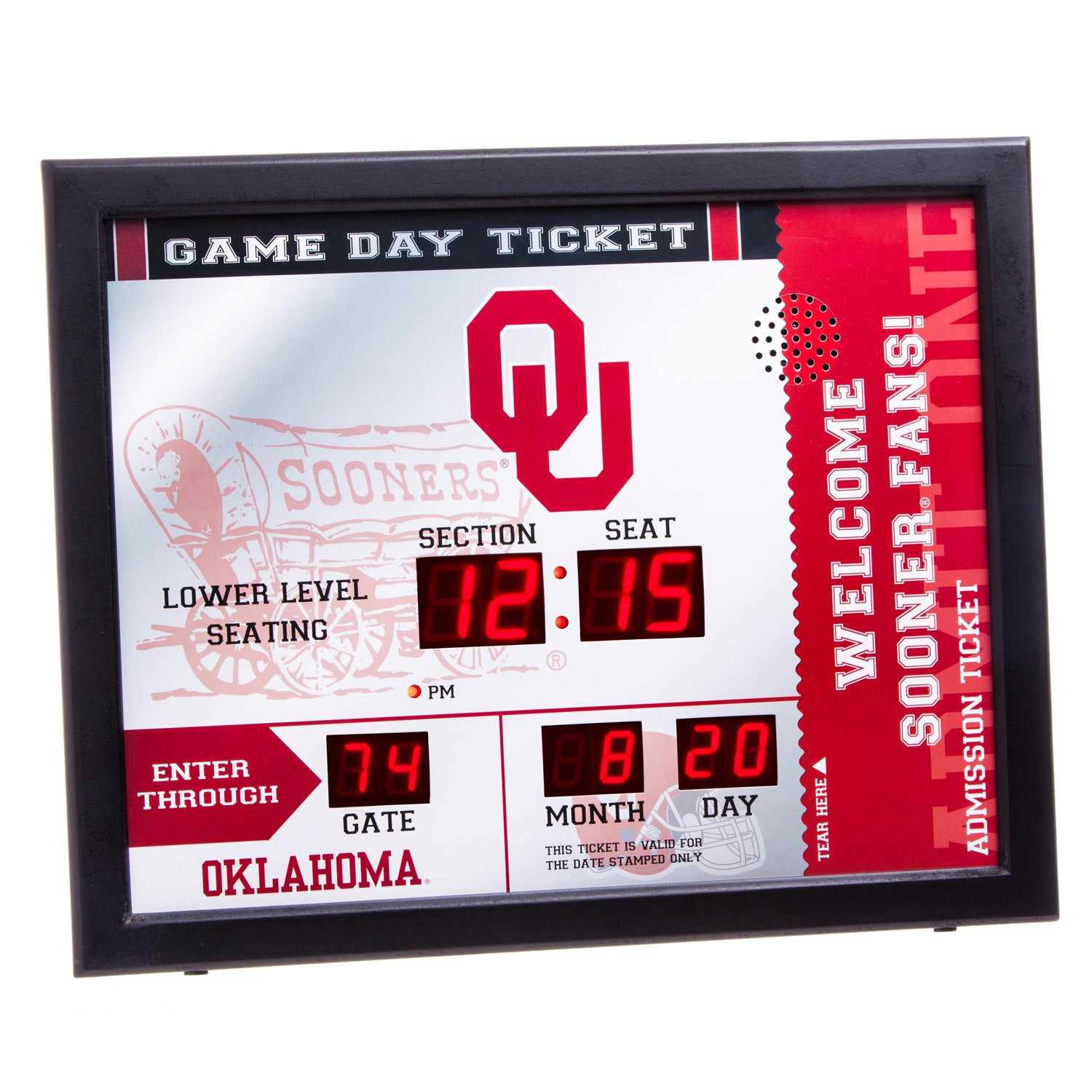 Oklahoma Sooners Bluetooth Scoreboard Wall Clock