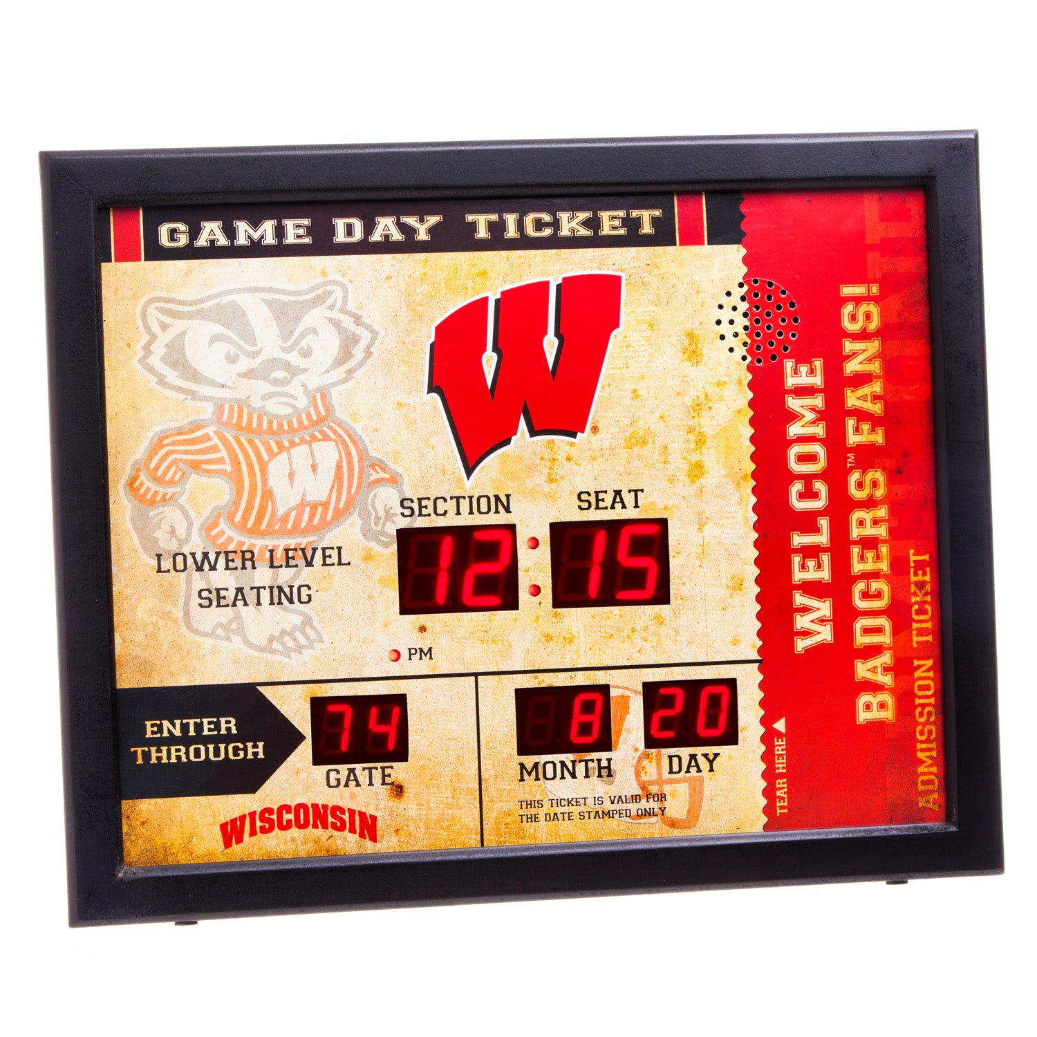Wisconsin-Madison Badgers Bluetooth Scoreboard Wall Clock
