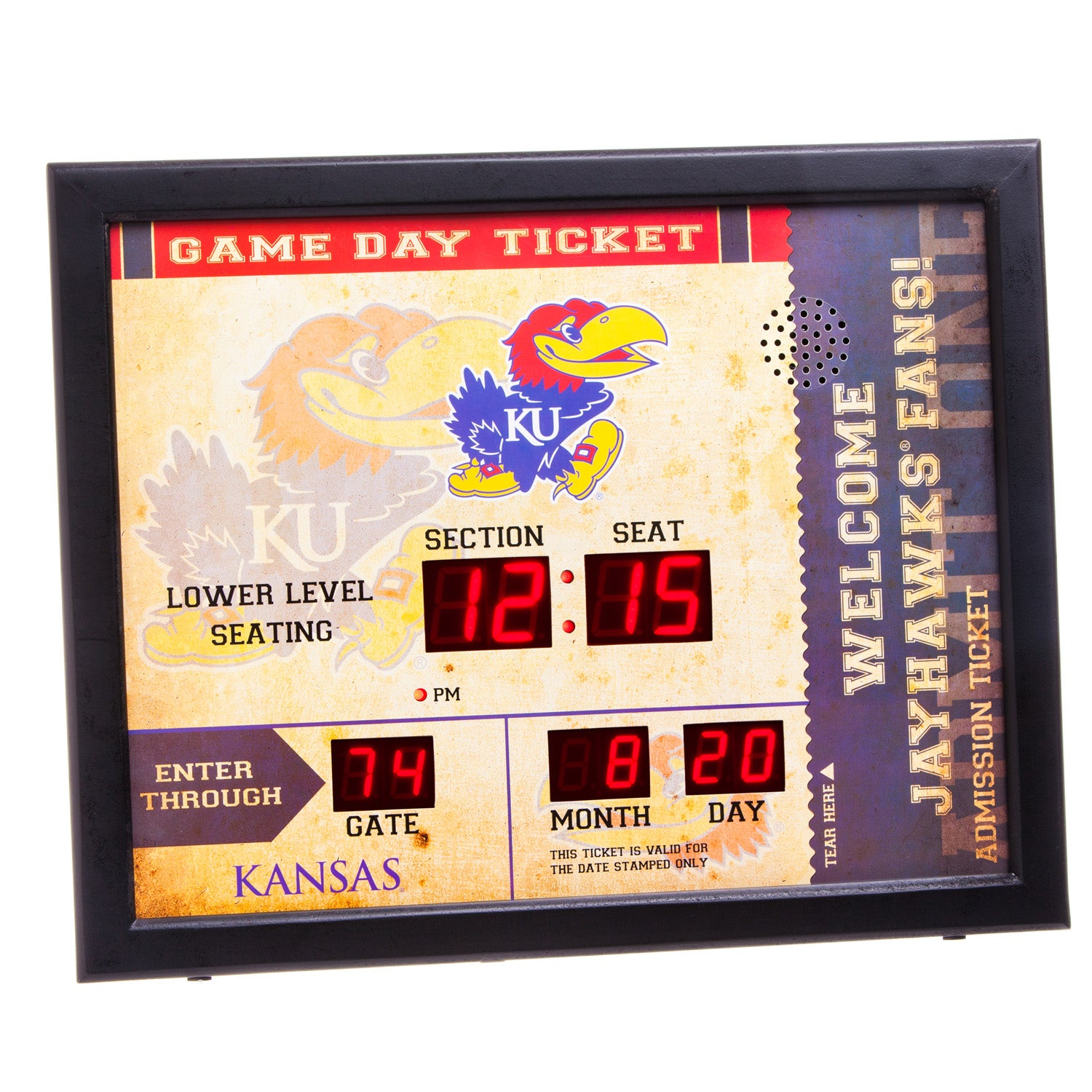 Kansas Jayhawks Bluetooth Scoreboard Wall Clock