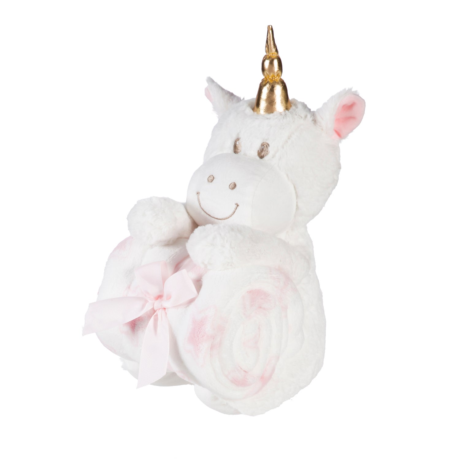 "Cuddly Unicorn 10"" Stuffed Animal w/ Blanket Gift Set, White"