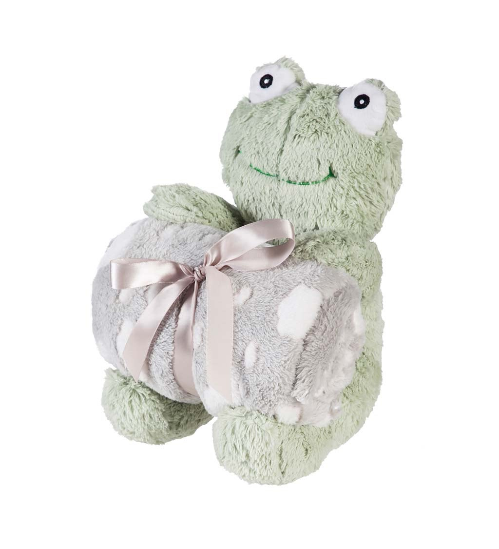 "Cuddly Frog 10"" Stuffed Animal w/ Blanket Gift Set, Green"