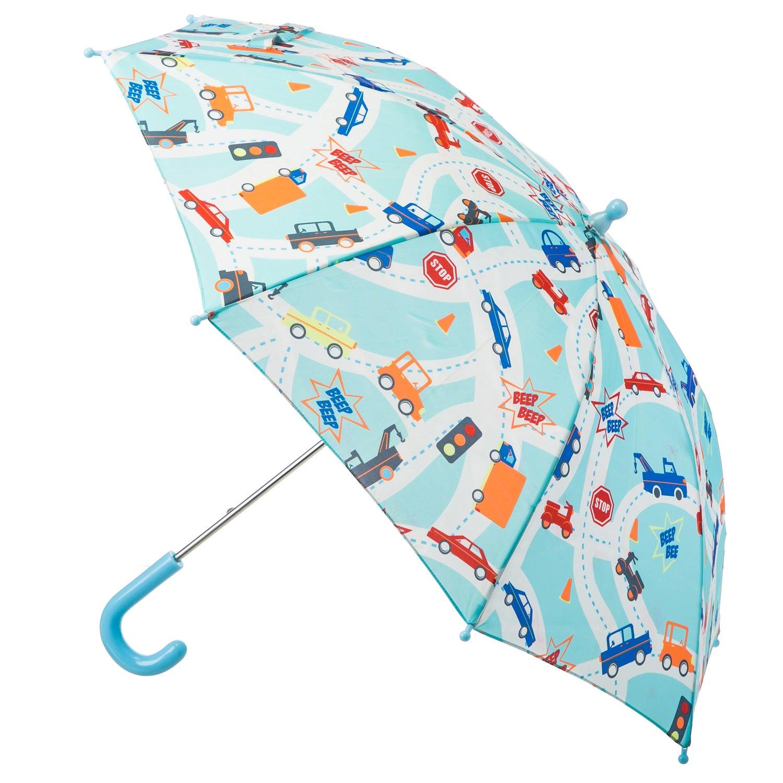 Aqua Blue Transportation Toddler Umbrella