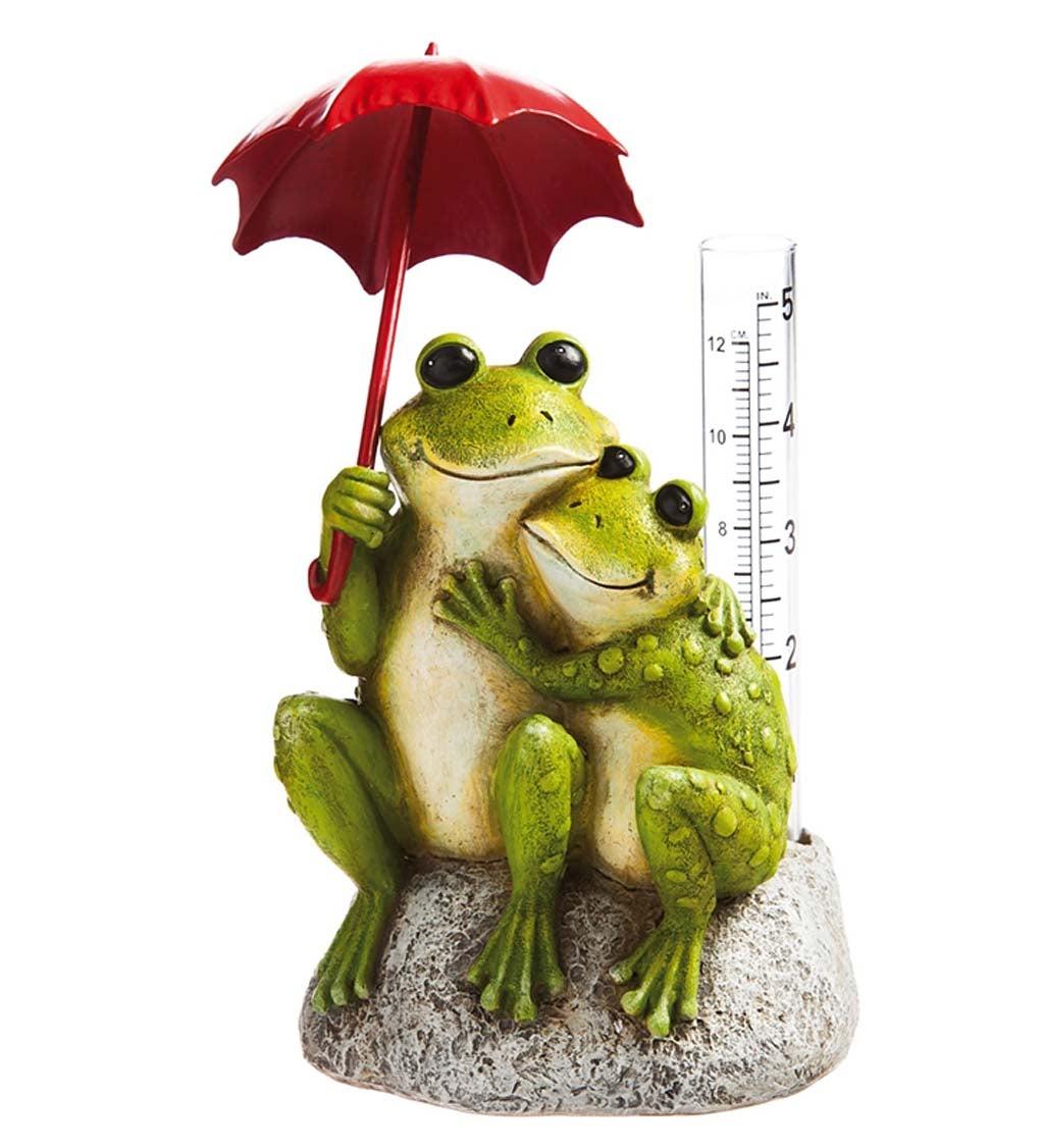 New Creative Frog Lovers Garden Statue with Rain Gauge
