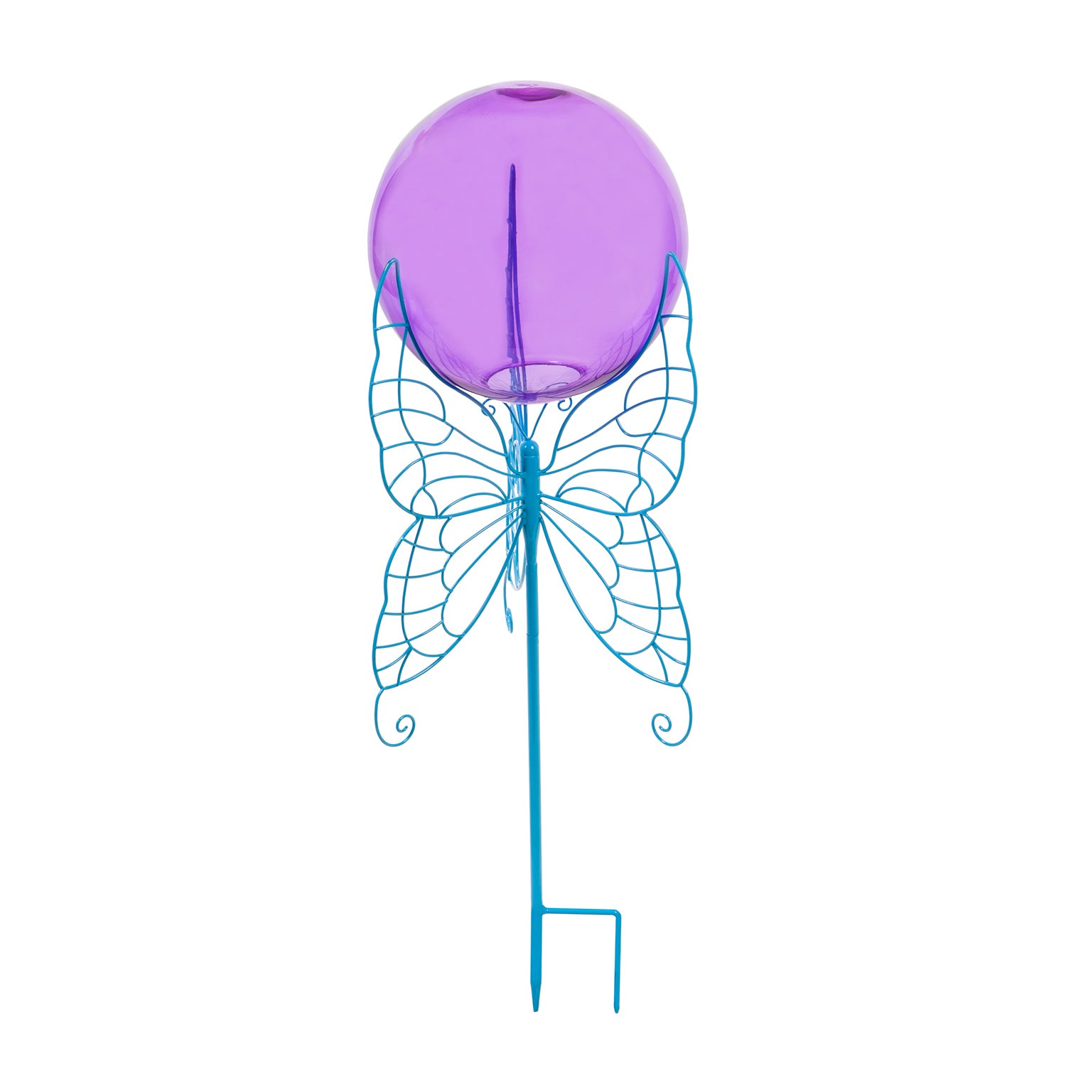 Purple Glass Gazing Ball with Blue Butterfly Metal Stand