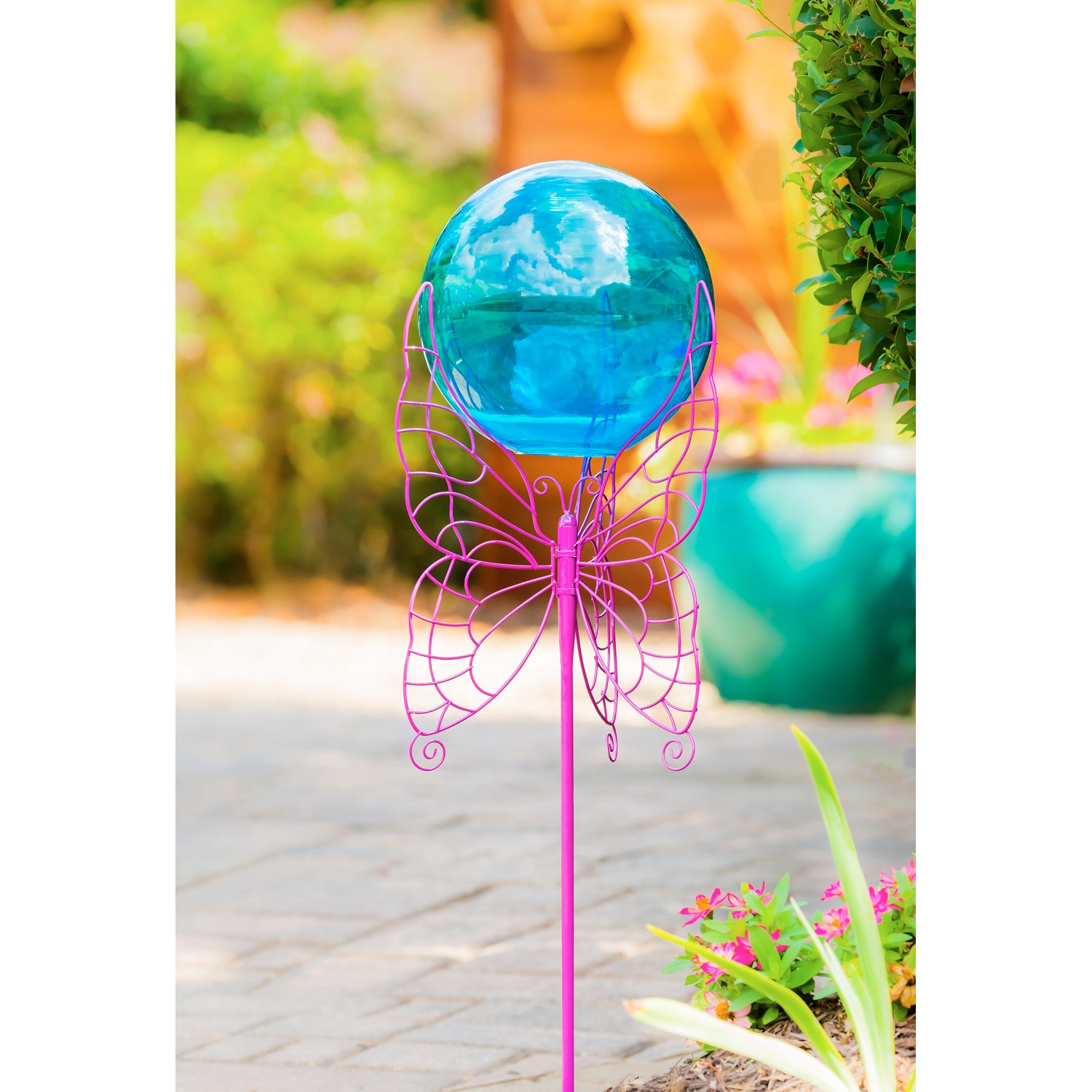 Blue Glass Gazing Ball with Purple Butterfly Metal Stand