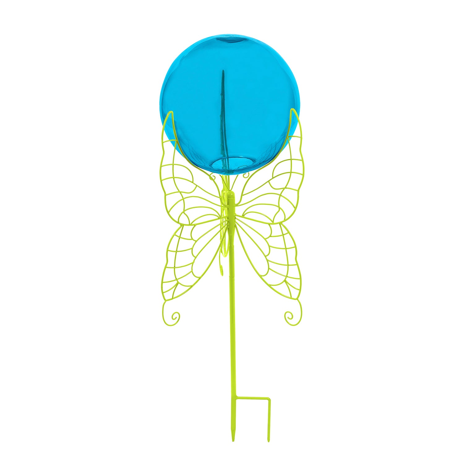 Blue Glass Gazing Ball with Green Butterfly Metal Stand