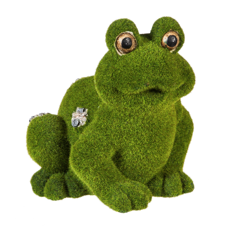 Flocked Frog Outdoor Garden Figurine