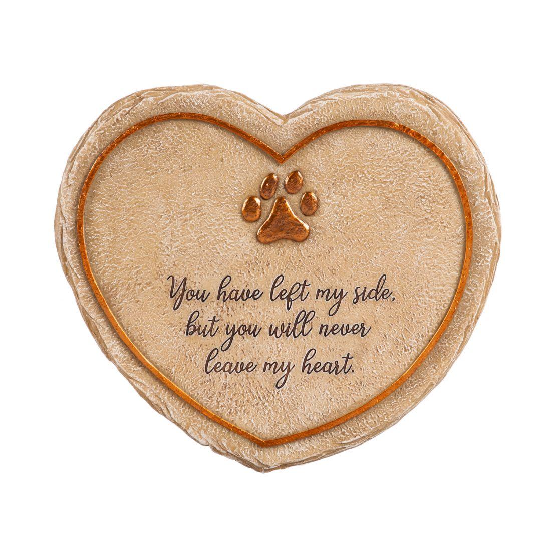 "11"" Heart Shaped Pet Memorial Garden Stone, Never Leave My Heart"